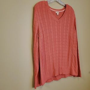 Sonoma Coral Pink Cable Knit V Neck Sweater - XL